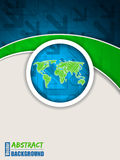 Abstract blue green brochure with arrows. And scribbled world map royalty free illustration