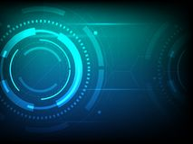 Abstract blue green circle digital technology background, futuristic structure elements concept background. Design Royalty Free Stock Photography