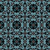 Abstract blue green damask pattern on a black Royalty Free Stock Images