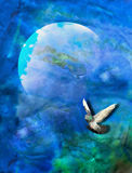 Blue Green Planet Bird Concept Background. Blue-green background. Heaven with planet and flying bird - Tranquil relaxing fantasy concept. Peace royalty free stock photography