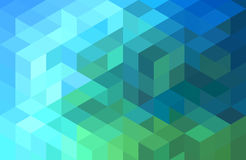 Abstract blue green geometric background, vector. Abstract green blue geometric vector background, cube pattern Stock Photos