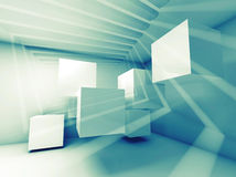 Abstract blue green interior with flying cubes. And light beams stock illustration