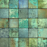 Abstract blue green square tile grunge pattern backdrop Royalty Free Stock Photo