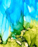 Abstract blue green underwater splashes. Colorful background hand drawn with bright inks and watercolor paints. Color splashes and splatters create uneven Stock Photos