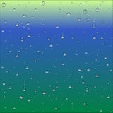 Abstract blue, green and yellow gradient background with clear w. Ater drops texture, vector illustration Stock Photos
