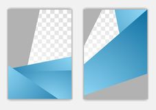 Abstract blue grey geometric corporate flyer design Stock Images