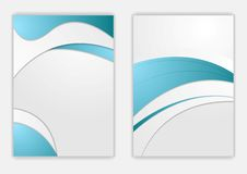 Abstract blue grey wavy corporate flyer design Royalty Free Stock Photos