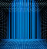 Abstract blue grid space. Abstract blue grid perspective space background stock illustration