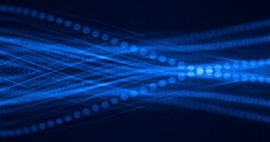 Abstract blue growing bright bunch of optical fibers background, fast light signal for high speed internet stock illustration