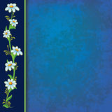 Abstract blue grunge background with blue flowers. On black stock illustration