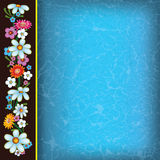 Abstract blue grunge background with flowers. On black stock illustration