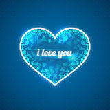 Abstract blue heart. Inscription I love you. Triangular shards. vector illustration