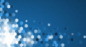 Abstract blue hexagon background with white border banner Royalty Free Stock Photos