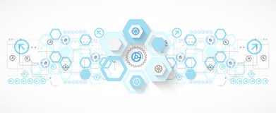 Abstract blue hexagon futuristic background for design works Royalty Free Stock Photo