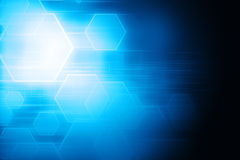 Abstract blue hexagon and lines glowing technology background Stock Image