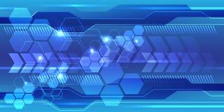 Abstract blue hexagon polygon line light technology design modern futuristic background vector. Illustration Stock Photography