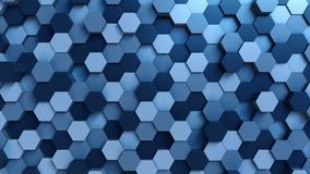 Moving blue hexagons background. 3D rendering. Abstract blue hexagonal background 3D Royalty Free Stock Photo