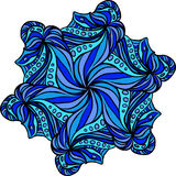 Abstract blue hexagonal pattern. Like as snowflake or flower Stock Images