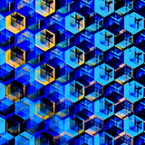 Abstract Blue Hexagons Background. Modern Hexagonal Color Illustration. Geometric Art Texture. Stock Images