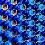 Abstract Blue Hexagons Background. Modern Hexagonal Color Illustration. Geometric Art Texture.