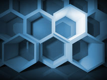 Abstract blue honeycomb structure background. With light Royalty Free Stock Photography