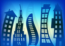 Abstract Blue Houses Background Stock Photo