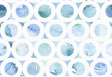 Abstract blue illustration with watercolor freehand drawing in bagel pattern. Hand drawn blue and aqua background, drawn with liqu Stock Photos