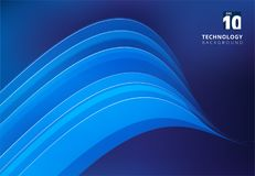 Abstract blue image that depicts technology with overlapping cur. Ve lines. Vector illustration Royalty Free Stock Image
