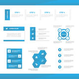 Abstract blue infographic elements presentation template flat design set for brochure flyer leaflet marketing Royalty Free Stock Images