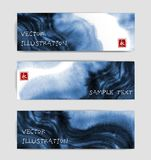 Abstract blue ink wash banners in asian style. Traditional Japanese ink painting sumi-e. Contains hieroglyph - eternity.  vector illustration