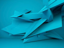 Abstract blue interior background 3d. Abstract blue interior background, chaotic polygonal decoration near the wall, 3d render illustration royalty free illustration