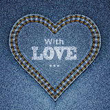 Abstract blue jeans heart. On denim background. Valentine's day greeting card. Vector eps10 illustration Royalty Free Stock Photos