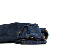Abstract blue Jeans on white background. Abstract blue Jeans textile on white background Royalty Free Stock Photo