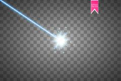 Abstract blue laser beam. Isolated on transparent black background. Vector illustration,. Eps 10 Stock Photography