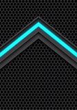 Abstract blue light arrow on dark gray hexagon mesh design modern futuristic technology background vector. Illustration Stock Photo