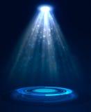 Abstract blue light background. Spotlight illumination floor. Exhibition template Royalty Free Stock Image