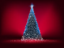 Abstract blue light christmas tree on red. EPS 8 Stock Images