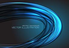 Abstract blue light ellipse curve overlap on black design modern luxury futuristic technology background vector. Illustration royalty free illustration