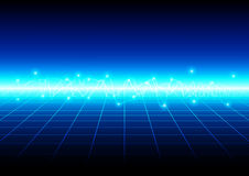 Abstract blue light with grid technology background.  illu Royalty Free Stock Image
