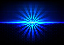 Abstract blue light and hexagon with table background Royalty Free Stock Image