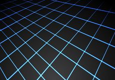 Abstract blue light line mesh perspective on black technology background vector. Illustration Stock Image
