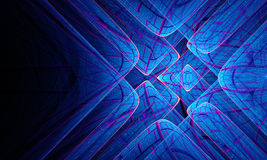 Abstract blue light lines on black Stock Photos