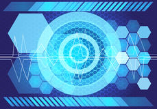 Abstract blue light power technology design background vector. Royalty Free Stock Image
