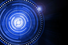 Abstract blue lighting cog time-machine flare background. Royalty Free Stock Images
