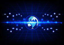 Abstract blue lighting and globe energy  technology background.i Royalty Free Stock Images