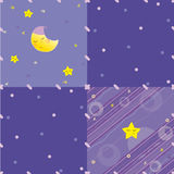 Abstract blue, lilac background with stars and moon. Patchwork style abstract blue, lilac background with sleeping stars and moon, buttons Royalty Free Stock Photo