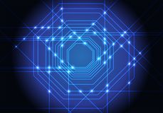 Abstract blue lines light octagons technology design modern futuristic background vector. Illustration Stock Photography