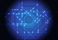Abstract blue lines light octagons technology design modern futuristic background vector. Illustration stock illustration