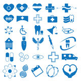 Abstract blue medical iconsset. Abstract blue medical illustration web icons set  background Royalty Free Stock Image