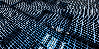 Abstract blue metallic background of 3d blocks. Place stock illustration